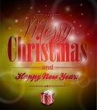 Illustration de Joyeux Noël de vecteur avec le typograph Images stock
