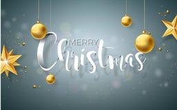 Illustration de Joyeux Noël sur Grey Background avec des éléments de typographie et de vacances, conception de vecteur Photographie stock libre de droits