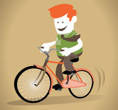 Le type d'entreprise monte sa bicyclette Photographie stock