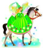 Illustration de l'équitation féerique sur la licorne Photo stock