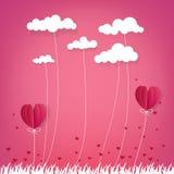 Illustration de l'amour et du Saint Valentin, ballon à air chaud pilotant l'OV Photographie stock