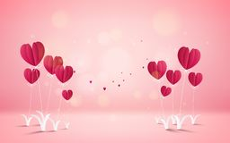 Illustration de l'amour et du Saint Valentin, ballon à air chaud pilotant l'OV Photo libre de droits