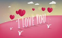 Illustration de l'amour et du Saint Valentin, ballon à air chaud pilotant l'OV Photos stock
