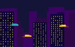 Illustration de l'avenir du transport a?rien urbain ou des voitures volantes illustration stock