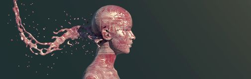illustration de l'homme avec les circuits tatoués illustration stock