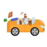 Illustration de l'homme avec un chapeau qui monte dans une voiture orange hors d'une valise Photographie stock libre de droits