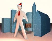 illustration de l'homme d'affaires 3d avec le cas et le lien rouge illustration de vecteur