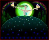 Illustration de la belle danse féerique dans la nuit avec des papillons Photos stock