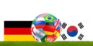 Illustration de la boule 3D du football du football de l'Allemagne Corée Image libre de droits