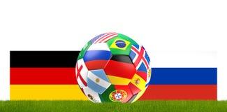 Illustration de la boule 3D du football du football de l'Allemagne Russie Photos libres de droits