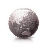 Illustration de la carte 3D du vieux monde en pierre de l'Asie et de l'Australie Photos libres de droits