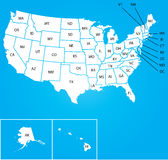 Illustration de la carte des Etats-Unis avec le nom du chaque états Image libre de droits