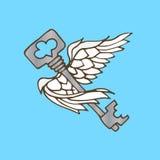 Illustration de la clé avec des ailes Clé de vol avec des ailes d'ange Photographie stock