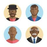 Illustration de la collection plate d'icônes d'hommes d'Afro-américain de conception Vecteur Photo stock