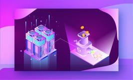 Illustration de la crypto machine d'échange de pièces de monnaie liée au cri illustration libre de droits