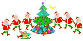 Illustration de la danse drôle de Santa Claus autour de l'arbre de Noël Photo libre de droits