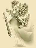 Illustration de la fée celtique magique tenant une épée Photo libre de droits
