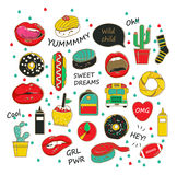 Illustration de la jeunesse avec des inscriptions sur le fond blanc Ensemble d'autocollants, corrections dans le style comique de Image libre de droits