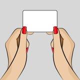 Illustration de la main de la femme tenant une carte de visite professionnelle de visite Photographie stock libre de droits