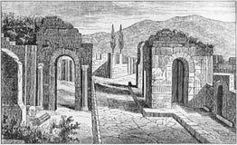 Illustration de la rue des tombes en dehors de la porte de Herculanum ? Pompeii image stock