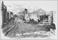Illustration de la rue des tombes de la porte de Herculanum à Pompeii photo libre de droits