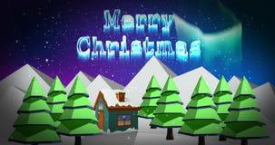 Illustration de la salutation de Noël avec le message de Joyeux Noël illustration de vecteur