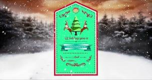 Illustration de label avec le message de Joyeux Noël illustration de vecteur