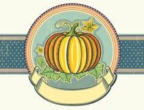 Illustration de label de cru de potiron sur le vieux papier. Photographie stock libre de droits