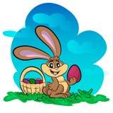 Illustration de lapin drôle avec le grand oeuf Photographie stock libre de droits