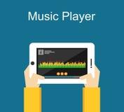 Illustration de lecteur de musique Conception plate Interface de lecteur de musique sur l'illustration d'écran de téléphone Conce Images stock
