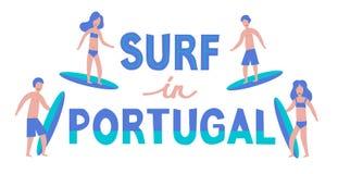 illustration de lettrage de vecteur Bannière des surfers avec des planches de surf illustration de vecteur