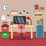 Illustration de lieu de travail moderne dans la chambre Espace de travail créatif de bureau Photos stock