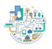 Illustration de ligne moderne ville plate de conception illustration de vecteur