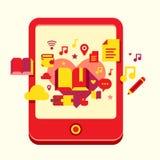 Illustration de livre électronique avec le contenu illustration de vecteur