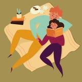 Illustration de livre de contes de lecture de couples de garçon et de fille photographie stock