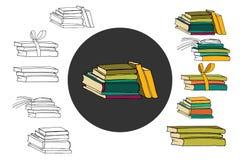 Illustration de livres tirée par la main pour votre conception Conception de griffonnage Photos libres de droits