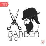 Illustration de logo de label d'homme de coiffure de raseur-coiffeur illustration de vecteur