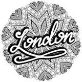 Illustration de Londres de vecteur sur le fond de mandala Rétro conception de typographie illustration manuscrite Image stock