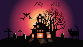 Illustration de lune et de chat de Halloween illustration stock