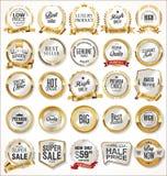 Illustration de luxe de collection de labels et de lauriers de blanc illustration stock