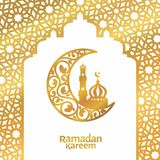 Illustration de luxe florale islamique de salutation de croissant de calibre de kareem de Ramadan et de vecteur de mosquée images stock