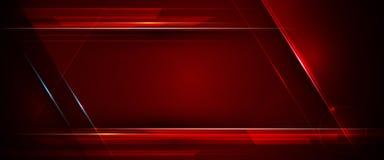 Illustration de métallique bleu, rouge et noir abstrait avec le rayon léger et la ligne brillante Conception de cadre en métal illustration libre de droits