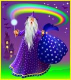 Illustration de magicien avec la baguette magique et le sac magiques Images libres de droits