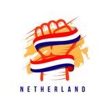 Illustration de main et de conception de calibre de vecteur de Netherland de drapeau illustration libre de droits