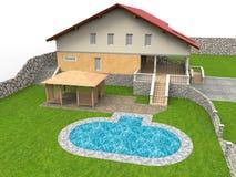 Illustration de maison de piscine d'arrière-cour illustration stock