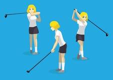 Illustration de Manga Girl Swing Golf Vector Image libre de droits