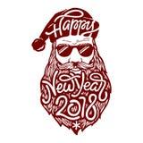 Illustration de mauvaise Santa Claus en verres avec marquer avec des lettres la bonne année 2018 sur sa barbe Illustration de vec illustration stock