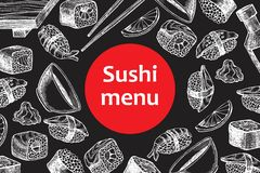 Illustration de menu de restaurant de sushi de tableau de vintage de vecteur Photographie stock libre de droits