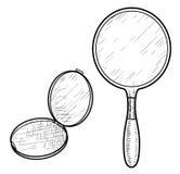 Illustration de miroir de main, dessin, gravure, encre, schéma, vecteur illustration libre de droits