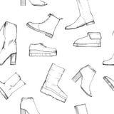 Illustration de modèle tiré par la main sans couture de femmes avec des chaussures d'hiver Chaussures d'elegand de mode pour la f Photographie stock